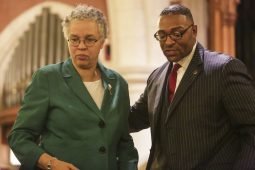 Cook County Board President Toni Preckwinkle and Board Commissioner Richard Boykin at a criminal justice town hall meeting at Grace Episcopal Church in Oak Park on Friday, January 16, 2015. (Chandler West/Staff photographer)