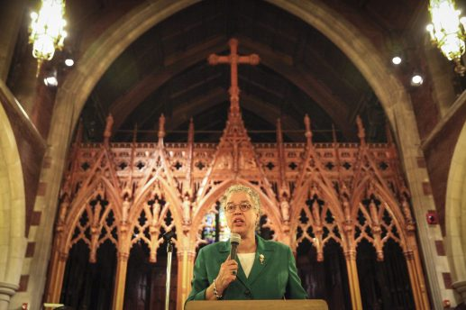 Cook County Board President Toni Preckwinkle speaks at a criminal justice town hall meeting at Grace Episcopal Church in Oak Park on Friday, January 16,