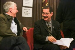 """Cook County Commissioner Jes?s """"Chuy"""" Garc?a chats with a citizen before his appearance at the Chicago Women Take Action Alliance Mayoral Forum on Saturday, January 24, 2015. (Chandler West/Staff Photographer)"""