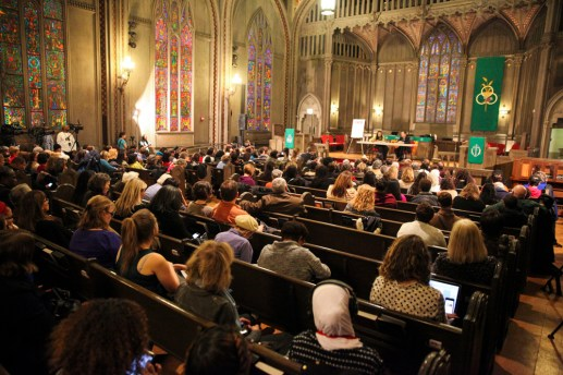 A large crowd gathered at the Chicago Women Take Action Alliance Mayoral Forum on Saturday, January 24, 2015. (Chandler West/Staff Photographer)