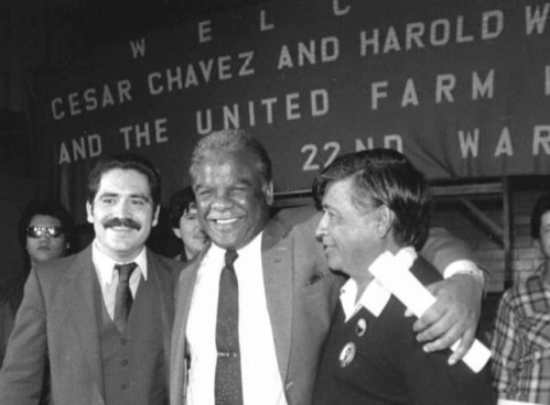 Garcia: Harold Washington, center, posing with Garcia (left) and Cesar Chavez (right). (Submitted photo)