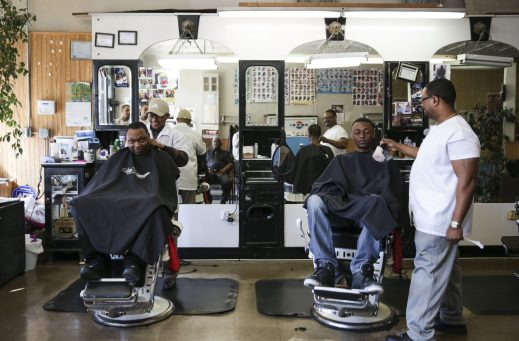Herb's Barber Shop, 5118 W Chicago Ave., on Friday, April 10, 2015. (Chandler West/Staff Photographer)