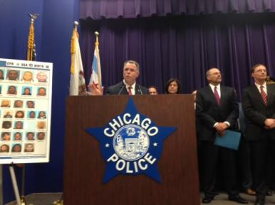 Chicago Police Supt. Gary McCarthy during a June 24 press conference announcing the results of Operation G.I. Joe. Local and Federal law enforcement officials arrested 32 alleged drug-dealers in what may be one of the largest stings to take place in North Lawndale in a generation. Michael Romain/Staff.