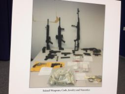 A picture of seized items during a June 24 press conference announcing the results of Operation G.I. Joe. Local and Federal law enforcement officials arrested 32 alleged drug-dealers in what may be one of the largest stings to take place in North Lawndale in a generation. Michael Romain/Staff.