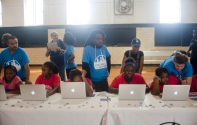 Austin schoolchildren take part in the Chicago City of Learning (CCOL) July 13, 2015, at Columbus Park, 500 S. Central Ave. The event was hosted by Digital Youth Network and sponsored by Best Buy. WILLIAM CAMARGO/Staff Photographer
