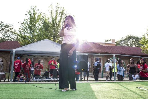 Anna Binion, 14, performs at Moore Park in the Austin neighborhood where National Night Out took place on Tuesday, August 4.. | Alex Wroblewski/Contributor