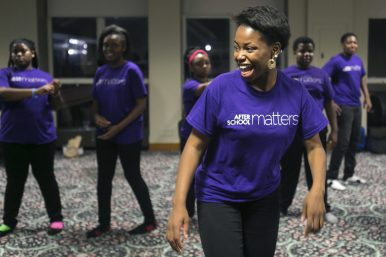 Trayvon Smith, 19, of West Garfield Park, rehearses with fellow members of the M.A.D.D. Rhythms program before a performance during the After School Matters Annual Gala, held Sept. 21, 2015, at Navy Pier. | Michelle Kanaar/ Contributor.