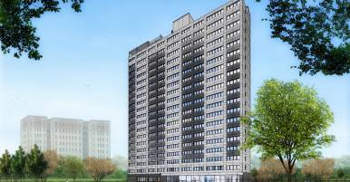 Architectural rendering of renovated Fannie Emanuel Apartments | Image by Holabird & Root.