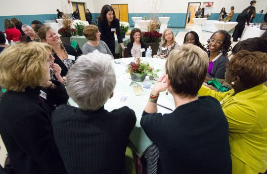 Riveredge Hospital CEO Carey Carlock , standing center, listens to attendees discuss a roundtable topic during the Women in Leadership Conference at Riveredge Hospital on Thursday, Oct. 29, 2015.|Jennifer T. Lacey/Contributor