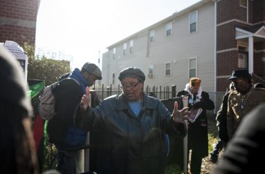 Deborah Johnson, 65, Hampton's widow, in front of where he was murdered on Dec. 4. Johnson and her son, Fred Hampton, Jr., in addition to former Black Panthers, say there are parallels between the murders of Hampton and Laquan McDonald. | William Camargo/Staff.