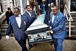 Family members including (father) Antonio LeGrier, carries the coffin of 19-year-old Quintonio LeGrier after the funeral service at Mount Pilgrim Church. In Chicago, IL Saturday, January 9, 2016 (Sebastian Hidalgo/Contributor)