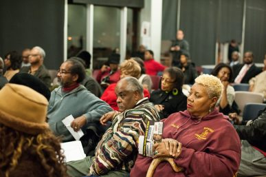 Attendees listen as Foxx and More answer questions at the Primary Cook County State's Attorney Forum at Christ the King Jesuit College Preparatory School hosted by the Chicago Westside NAACP Branch on Feb. 5.