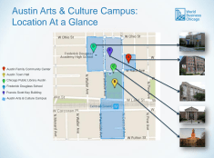 A map of the proposed Austin Arts and Culture Campus that was presented during a May 24 meeting at Austin Town Hall. | Courtesy Amara Enyia