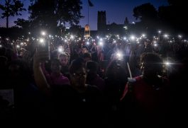 Hundreds of people attend an Aug. 31 vigil for Elijah Sims in Oak Park, the place his family moved two years ago to escape the city's violence. | William Camargo/Staff