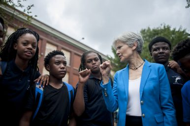 Jill Stein with students from DePriest during a tour through Austin last week. | William Camargo/Staff