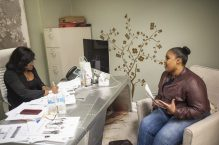 An Apple One staffing agent conducts a mock interview on Nov. 18 at Above and Beyond. | William Camargo