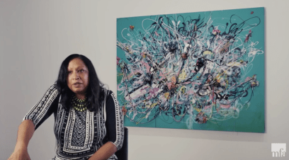 The city has tapped the internationally recognized artist Shinique Smith (shown during a video interview for the Museum of Fine Arts Boston) with to create public art for the Chicago/Austin bus turnaround. | Screenshot from Museum of Fine Arts Boston video