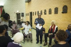 Two groups gathered in a peace circle at St. Agatha church in conjunction with Kwanza on Wednesday afternoon December 28, 2016. The groups spoke about heroes and about improving the North Lawndale community.