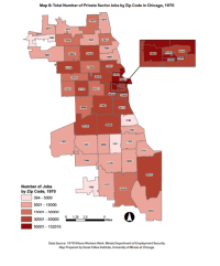 A map created by UIC's Great Cities Institute detailing the location of private sector jobs in 1970. | Great Cities Institute
