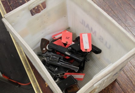 A Chicago police gun turn-in event held in Austin over the weekend netted nearly 100 weapons. Hope Community Church, 5900 W. Iowa, hosted the event on April 22.| AustinTalks