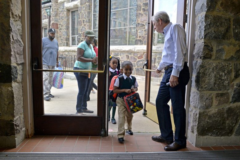 DOORS WIDE OPEN: Students show up for the first day of classes on Aug. 24 at The Field School, a new private school located at Calvary Memorial Church in Oak Park. The school prizes diversity and inclusion, said its founder. | ALEXA ROGALS/Staff Photographer