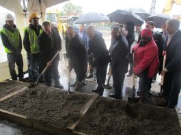 Work on the construction site has started. Chicago Mayor Rahm Emanuel and other elected officials and community leaders break ground on construction on. Oct. 24. | IGOR STUDENKOV/Contributor