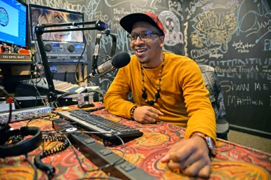 HIS LATEST ACT: Austin native Maurice Robinson in the Uptown studio where he produces his new radio show, Alternative Thought. | ALEXA ROGALS/Staff Photographer
