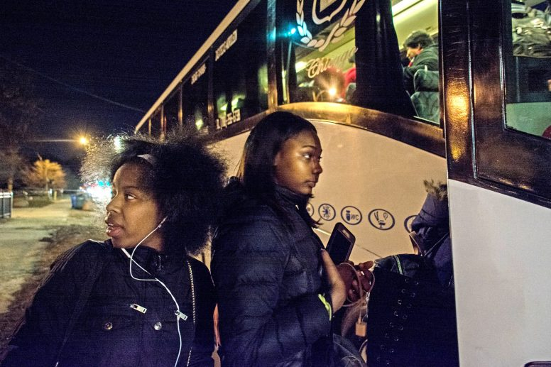 Young people on the West Side board a bus on March 23 headed for Washington, D.C., for the March for Our Lives rally against gun violence. The trip was sponsored by the Chicago Westside Branch NAACP. | SEBASTIAN HIDALGO/Contributor