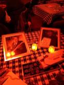 Memorial table for Sleepy Riley at Lori Lewis' Wednesday jam at the Water Hole. Box of chocolates for everyone.