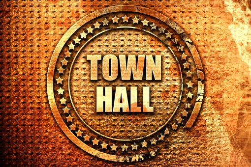 town hall, 3D rendering, text on metal