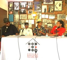Record store panel with (from left) Duane Powell, George Daniels, Jarvis Mason, Jarius King