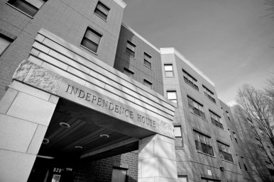 LOCKED OUT: The Independence Housing building in North Lawndale seen on Jan. 6. Armed security guards tasked with enforcing the building's coronavirus rules pulled a gun on one visitor, a tenant said.
