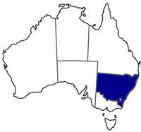 Highlighted areas of New South Wales, Australia