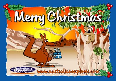 CHRISTMAS OUTBACK SETTING WITH KOALA VIRTUAL POSTCARD