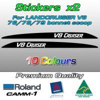 V8 CRUISER bonnet scoop stickers for the Landcruiser 70 V8