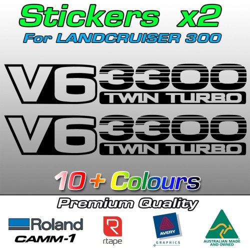V6 3300 TWIN TURBO stickers decals for LandCruiser 300