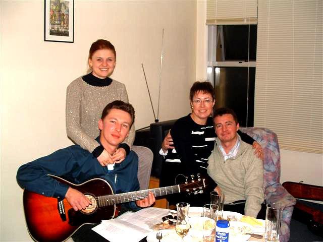 Дмитрий Волжский и Леонид Гребенников с женами Таней и Ритой