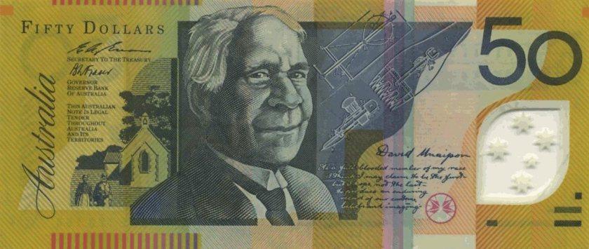 Портрет Дэвида Унайпона на 50-долларовой купюре