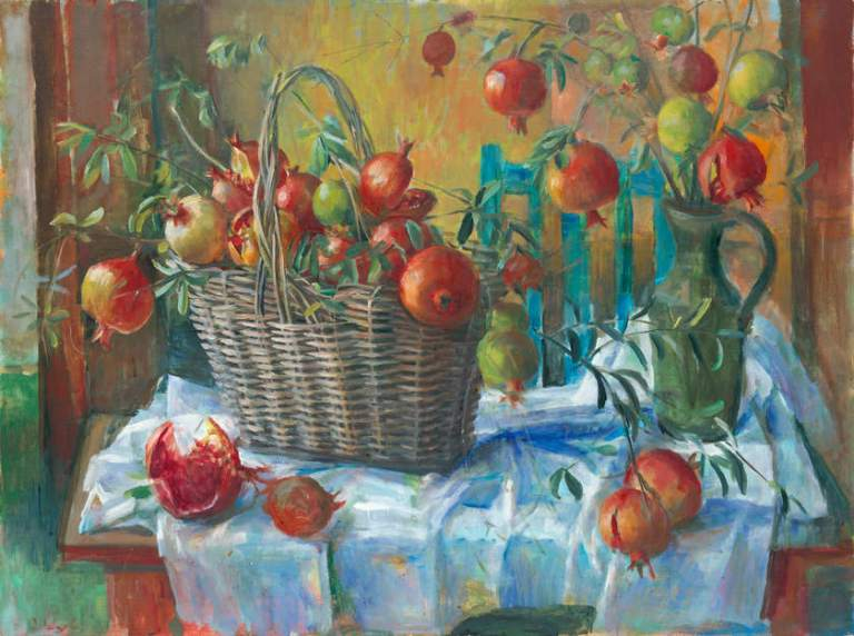 Margaret Olley. Pomegranates in a basket. 1967