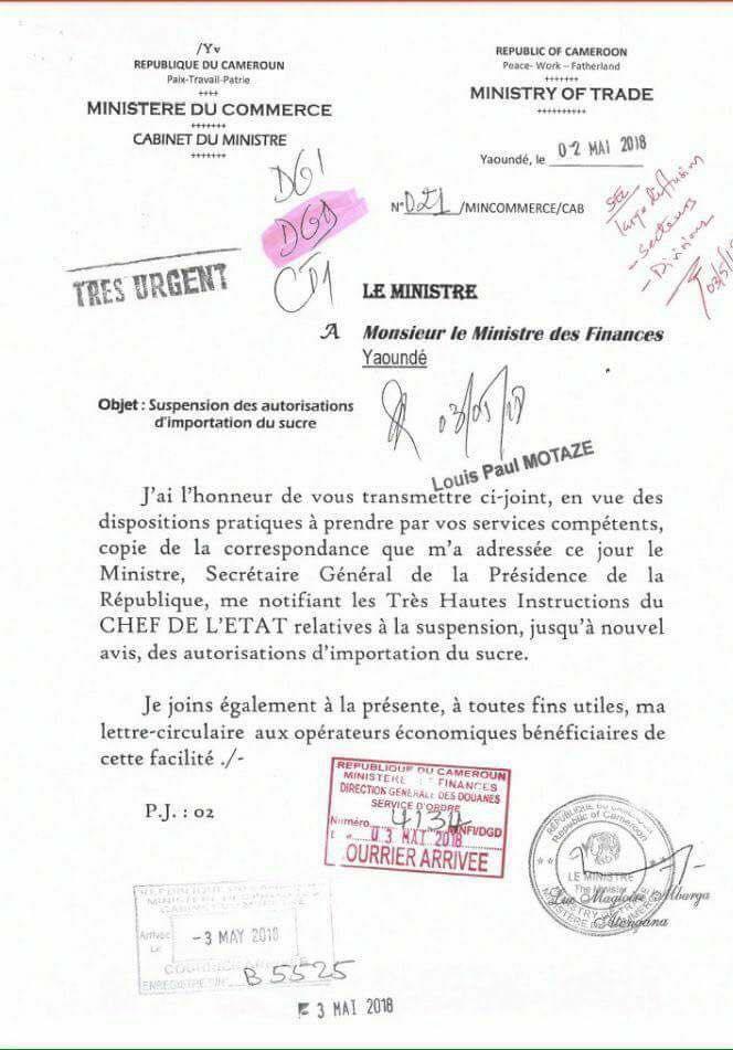 CAMEROUN/ SUSPENSION DES IMPORTATIONS DE SUCRE