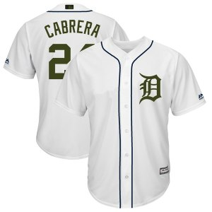 Men's Detroit Tigers Miguel Cabrera Majestic White 2018 Memorial Day Cool Base Player Jersey
