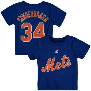 Preschool New York Mets Noah Syndergaard Majestic Royal Player Name and Number T-Shirt