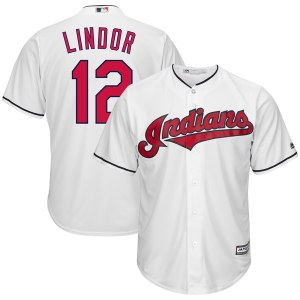 Men's Cleveland Indians Francisco Lindor Majestic White Home Big & Tall Cool Base Player Jersey
