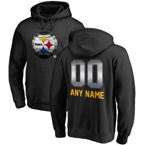 Men's Pittsburgh Steelers NFL Pro Line by Fanatics Branded Black Personalized Midnight Mascot Pullover Hoodie