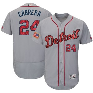 Men's Detroit Tigers Miguel Cabrera Majestic Gray 2018 Stars & Stripes Flex Base Player Jersey