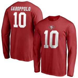Men's San Francisco 49ers Jimmy Garoppolo NFL Pro Line by Fanatics Branded Red Authentic Stack Name & Number Long Sleeve T-Shirt