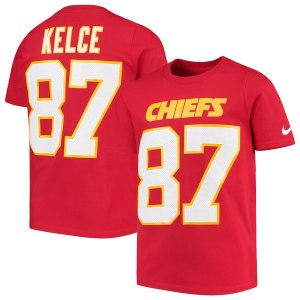 Youth Kansas City Chiefs Travis Kelce Nike Red Player Pride 3.0 Name & Number T-Shirt