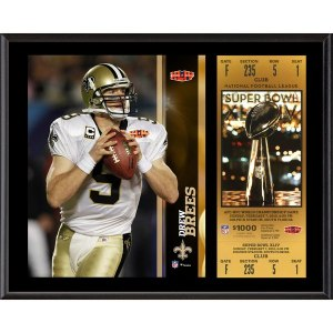 New Orleans Saints Drew Brees Fanatics Authentic 12'' x 15'' Super Bowl XLIV Plaque with Replica Ticket