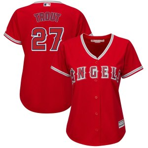 Women's Los Angeles Angels Mike Trout Majestic Alternate Scarlet Plus Size Cool Base Player Jersey