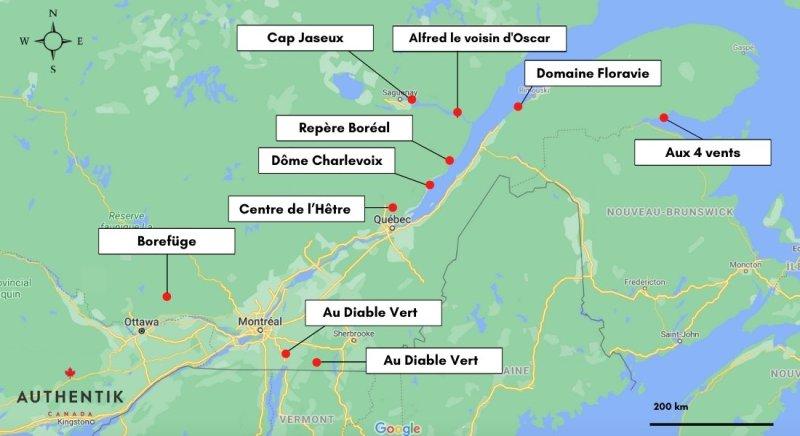 carte des hébergements insolites au Québec